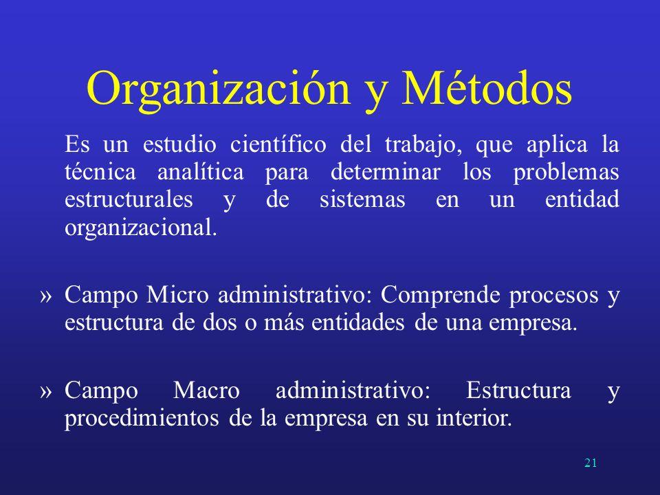 Es un estudio científico del trabajo, que aplica la técnica analítica para determinar los problemas estructurales y de sistemas en un entidad organiza
