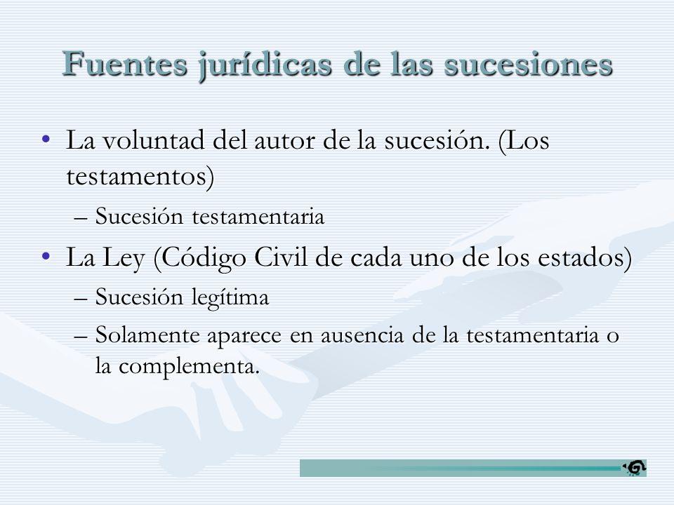 Fuentes jurídicas de las sucesiones La voluntad del autor de la sucesión. (Los testamentos)La voluntad del autor de la sucesión. (Los testamentos) –Su