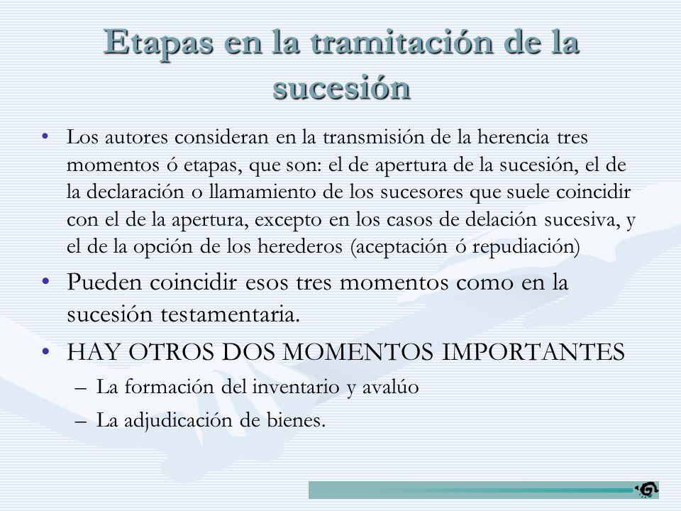 Etapas en la tramitación de la sucesión Los autores consideran en la transmisión de la herencia tres momentos ó etapas, que son: el de apertura de la