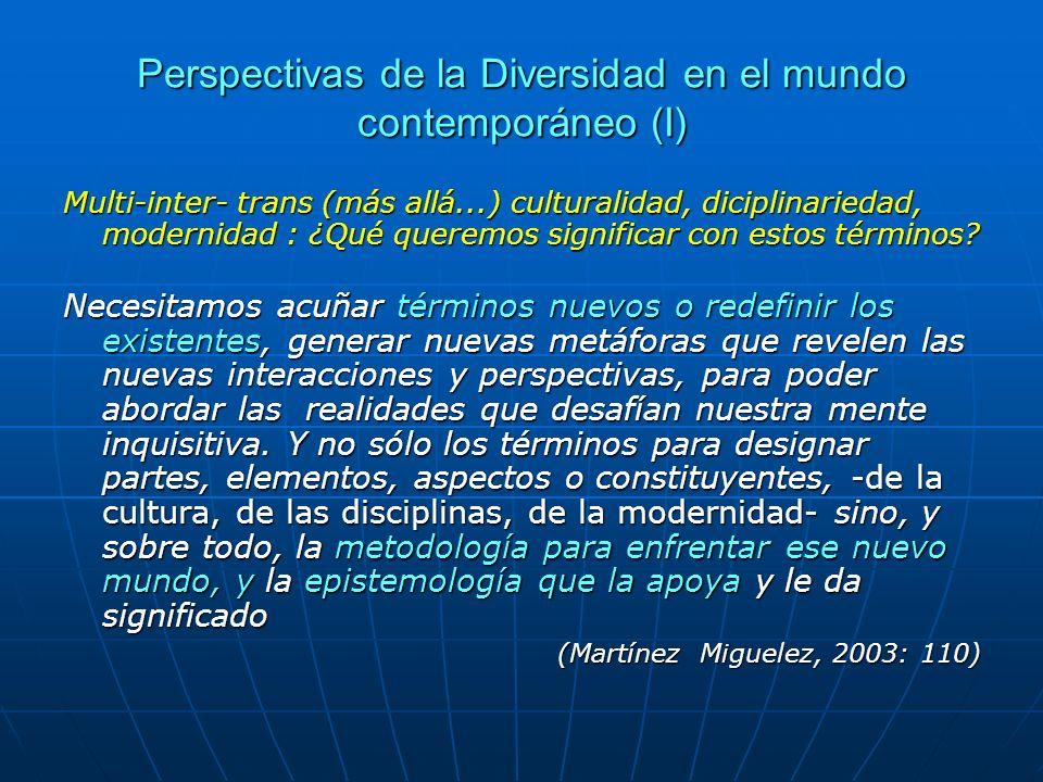 Perspectivas de la Diversidad en el mundo contemporáneo (I) Multi-inter- trans (más allá...) culturalidad, diciplinariedad, modernidad : ¿Qué queremos