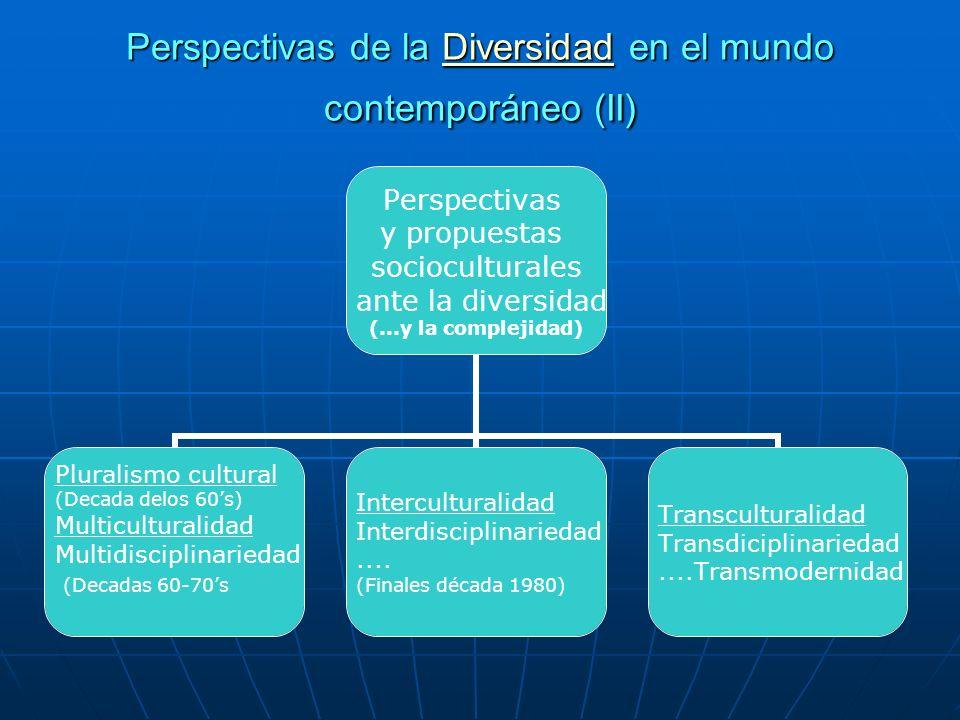 Perspectivas de la Diversidad en el mundo contemporáneo (II) Diversidad Perspectivas y propuestas socioculturales ante la diversidad (...y la compleji