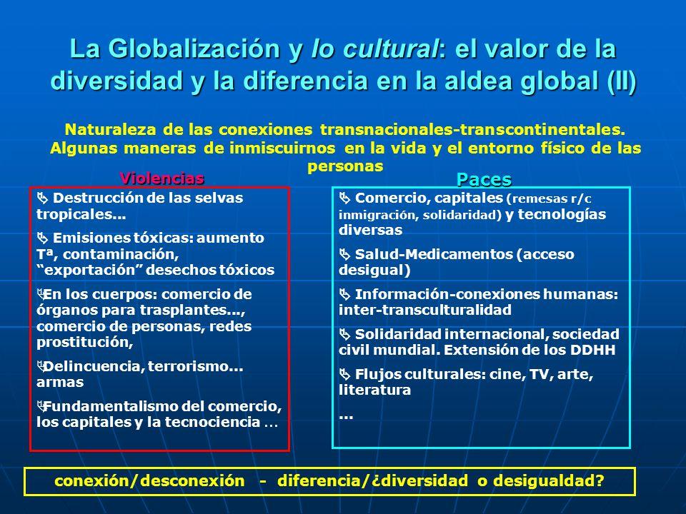 La Globalización y lo cultural: el valor de la diversidad y la diferencia en la aldea global (II) Naturaleza de las conexiones transnacionales-transco