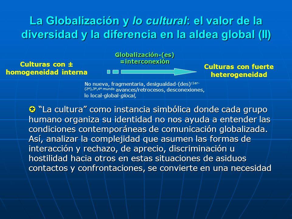 La Globalización y lo cultural: el valor de la diversidad y la diferencia en la aldea global (II) La cultura como instancia simbólica donde cada grupo
