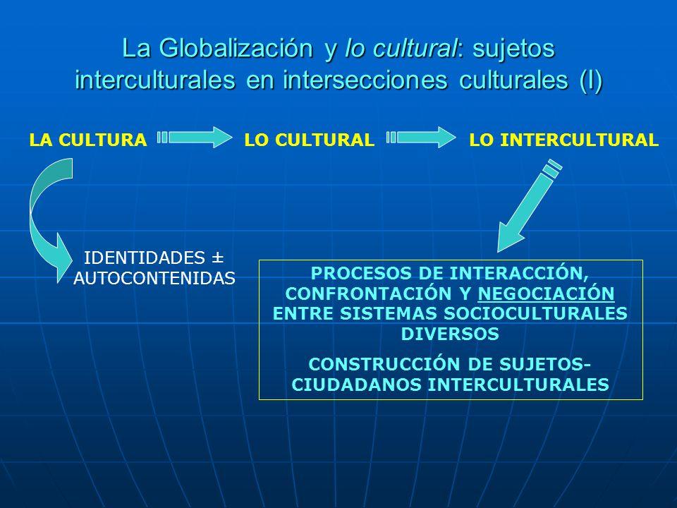La Globalización y lo cultural: sujetos interculturales en intersecciones culturales (I) LA CULTURALO CULTURALLO INTERCULTURAL IDENTIDADES ± AUTOCONTE