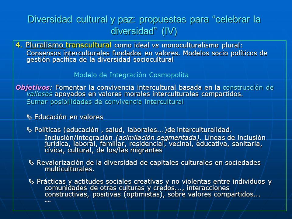 Diversidad cultural y paz: propuestas para celebrar la diversidad (IV) 4. Pluralismo transcultural como ideal vs monoculturalismo plural: Pluralismo C