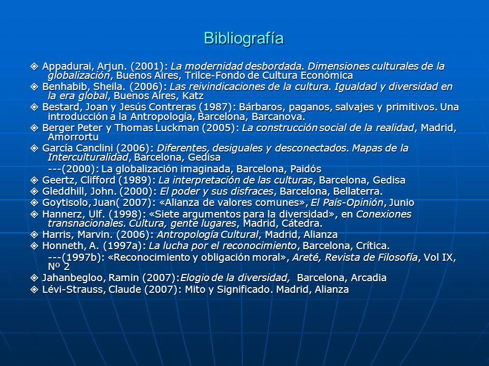 Bibliografía Appadurai, Arjun. (2001): La modernidad desbordada. Dimensiones culturales de la globalización, Buenos Aires, Trilce-Fondo de Cultura Eco