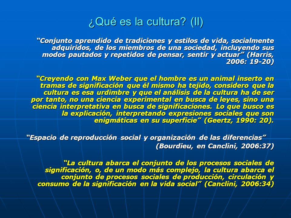 ¿Qué es la cultura? (II) Conjunto aprendido de tradiciones y estilos de vida, socialmente adquiridos, de los miembros de una sociedad, incluyendo sus
