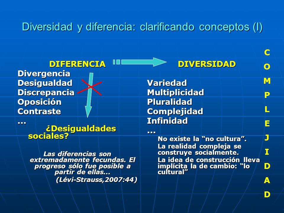 Diversidad y diferencia: clarificando conceptos (I) DIFERENCIADivergenciaDesigualdadDiscrepanciaOposiciónContraste... ¿Desigualdades sociales? Las dif