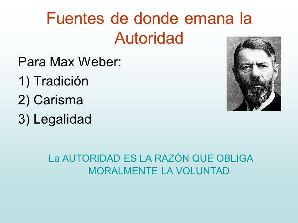 Fuentes de donde emana la Autoridad Para Max Weber: 1) Tradición 2) Carisma 3) Legalidad La AUTORIDAD ES LA RAZÓN QUE OBLIGA MORALMENTE LA VOLUNTAD