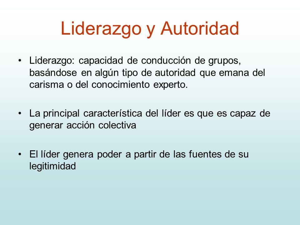 Liderazgo y Autoridad Liderazgo: capacidad de conducción de grupos, basándose en algún tipo de autoridad que emana del carisma o del conocimiento expe