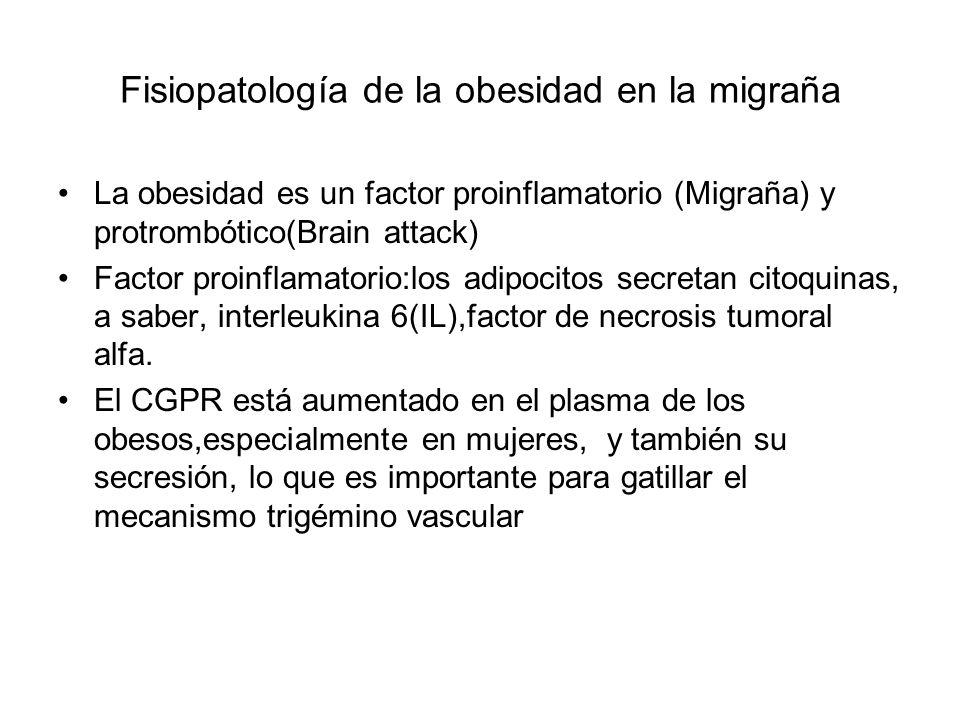 Fisiopatología de la obesidad en la migraña La obesidad es un factor proinflamatorio (Migraña) y protrombótico(Brain attack) Factor proinflamatorio:los adipocitos secretan citoquinas, a saber, interleukina 6(IL),factor de necrosis tumoral alfa.