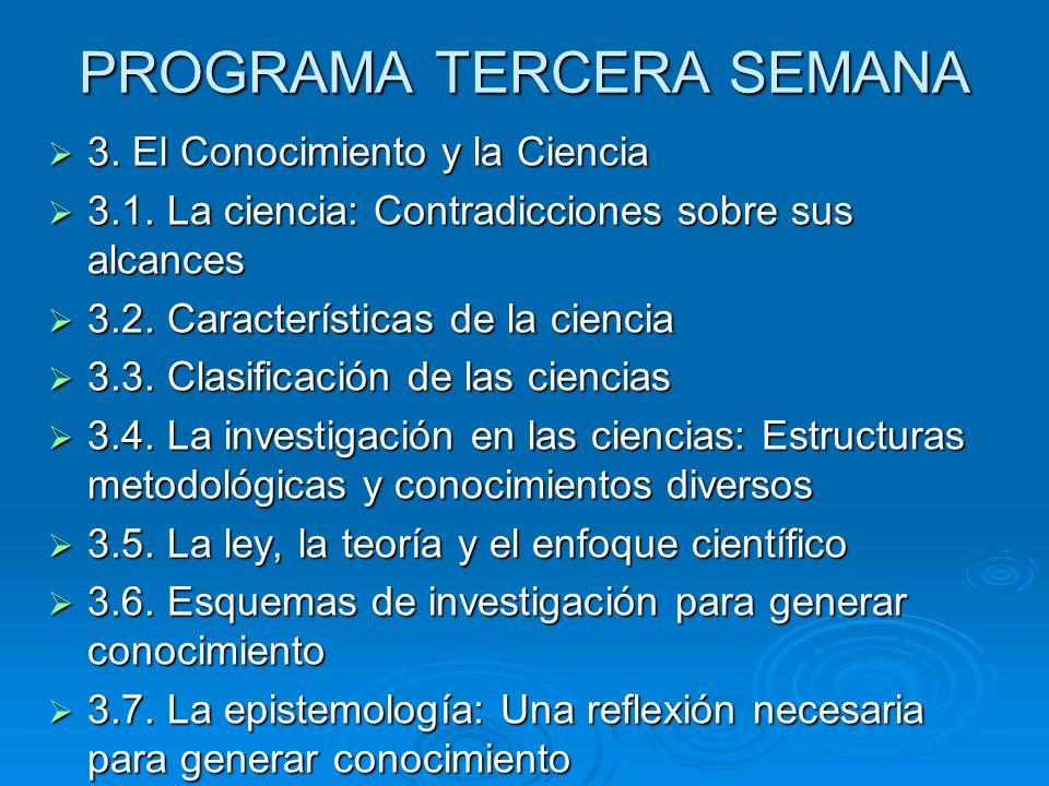 PROGRAMA TERCERA SEMANA 3. El Conocimiento y la Ciencia 3. El Conocimiento y la Ciencia 3.1. La ciencia: Contradicciones sobre sus alcances 3.1. La ci
