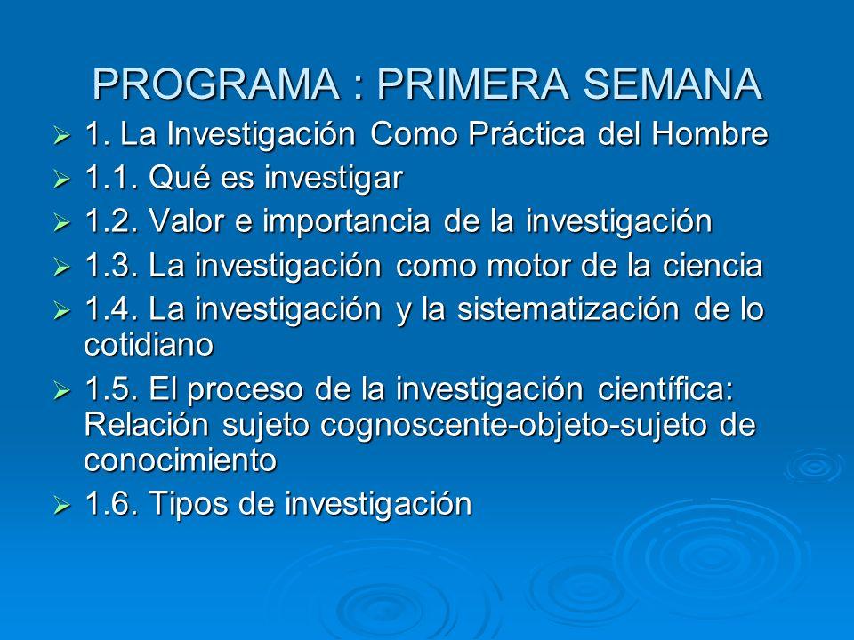 PROGRAMA : PRIMERA SEMANA 1. La Investigación Como Práctica del Hombre 1. La Investigación Como Práctica del Hombre 1.1. Qué es investigar 1.1. Qué es