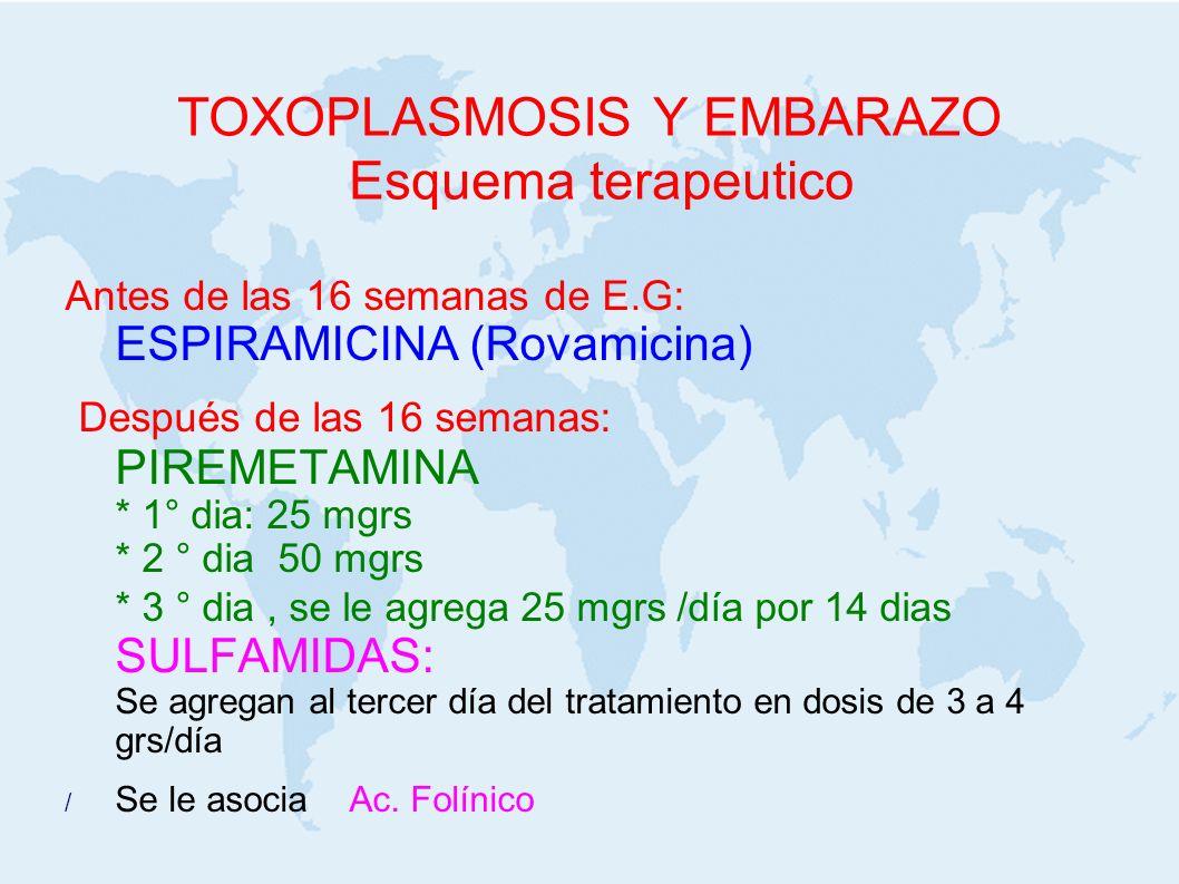 TOXOPLASMOSIS Y EMBARAZO Esquema terapeutico Antes de las 16 semanas de E.G: ESPIRAMICINA (Rovamicina) Después de las 16 semanas: PIREMETAMINA * 1° di