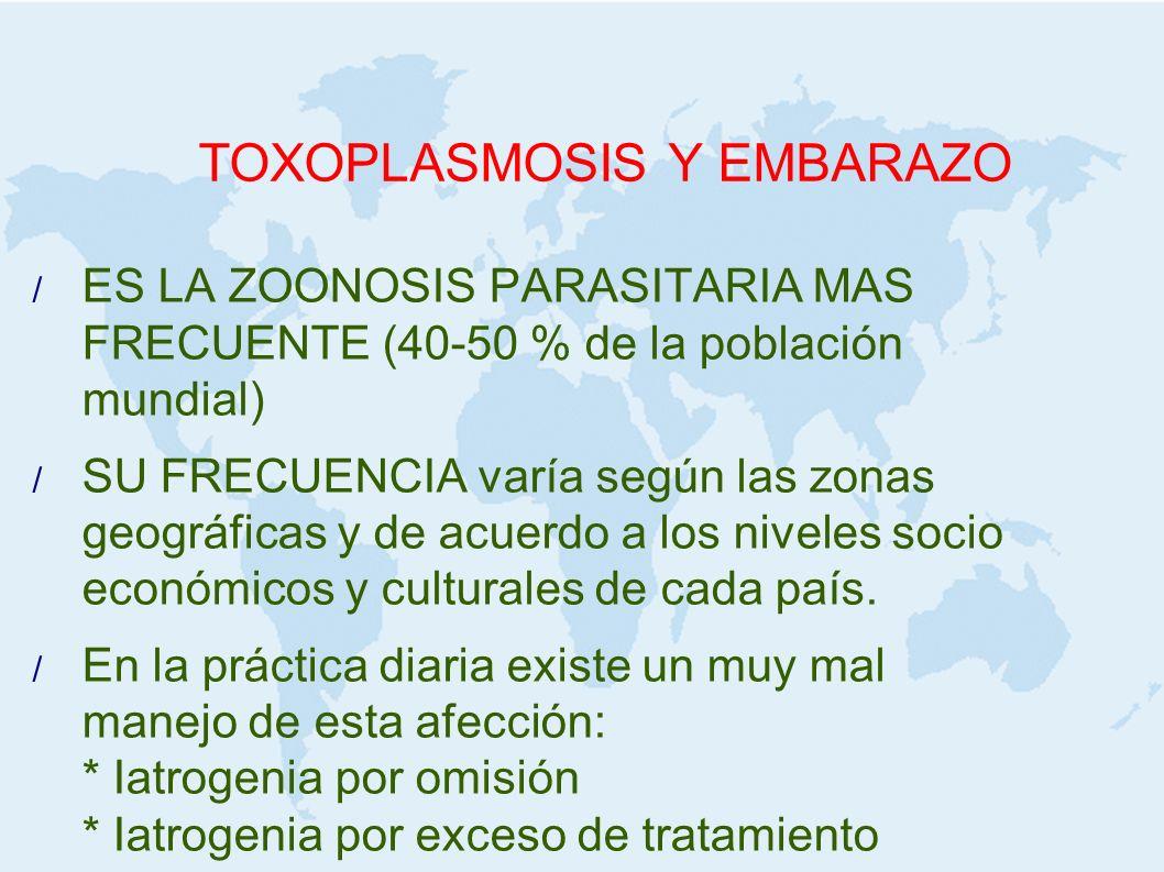 TOXOPLASMOSIS Y EMBARAZO Diagnóstico OBSTETRICAMENTE : una vez hecho el diagnóstico se inicia el tratamiento y se buscan elementos de una probable afección fetal: ECOGRAFIA + Hidrocefalia + Microcefalia + Calcificaciones intracraneales + Alteraciones oculares + Hepato-esplenomegalia + Volumen del líquido amniótico AMNIOCENTESIS