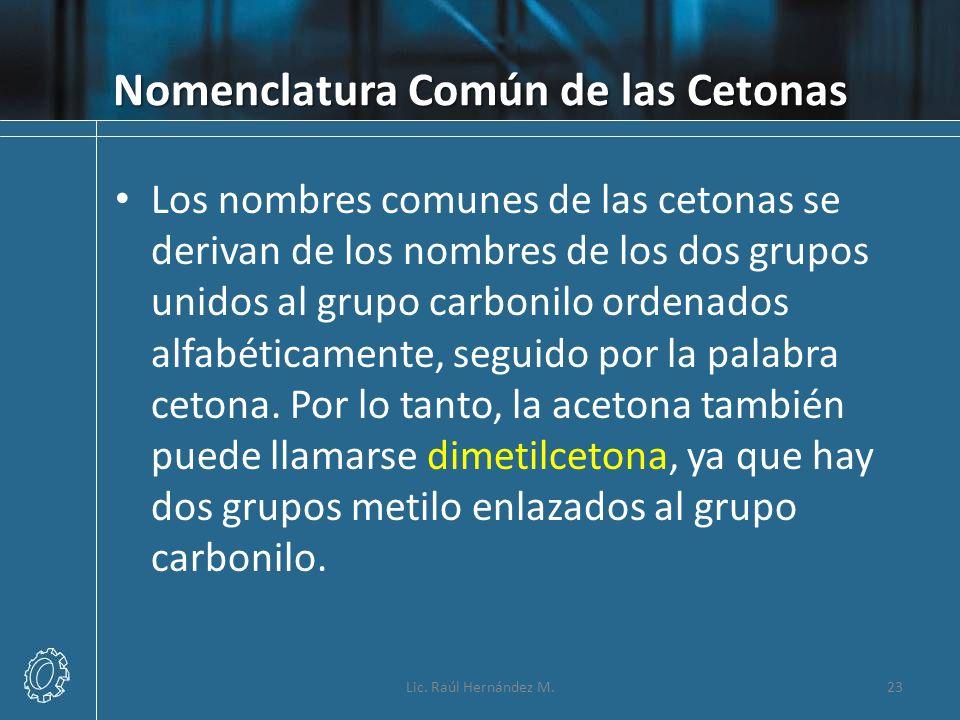 Nomenclatura Común de las Cetonas Los nombres comunes de las cetonas se derivan de los nombres de los dos grupos unidos al grupo carbonilo ordenados a