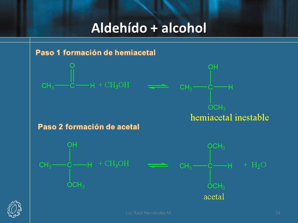 Aldehído + alcohol 34Lic. Raúl Hernández M.