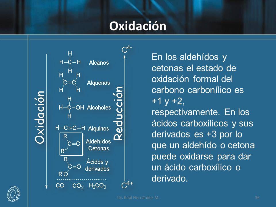 Oxidación En los aldehídos y cetonas el estado de oxidación formal del carbono carbonílico es +1 y +2, respectivamente. En los ácidos carboxílicos y s