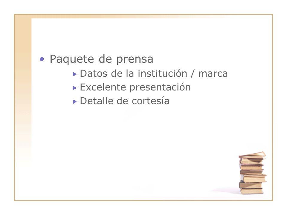 Paquete de prensa Datos de la institución / marca Excelente presentación Detalle de cortesía