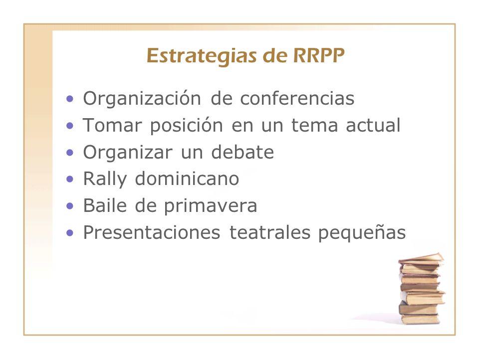 Estrategias de RRPP Organización de conferencias Tomar posición en un tema actual Organizar un debate Rally dominicano Baile de primavera Presentacion