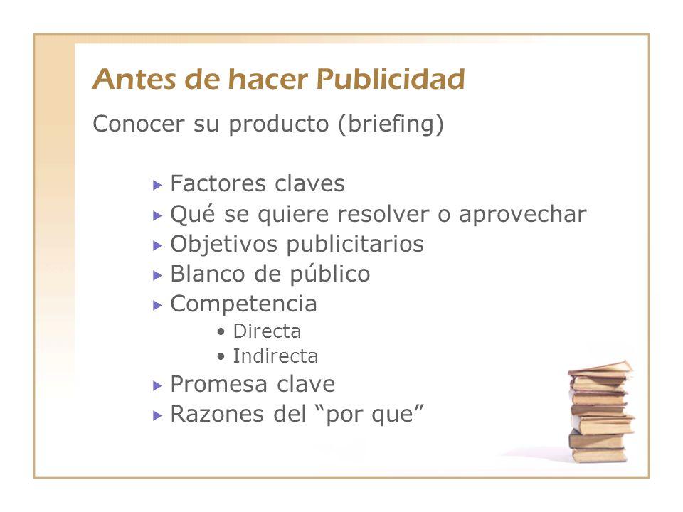 Antes de hacer Publicidad Conocer su producto (briefing) Factores claves Qué se quiere resolver o aprovechar Objetivos publicitarios Blanco de público