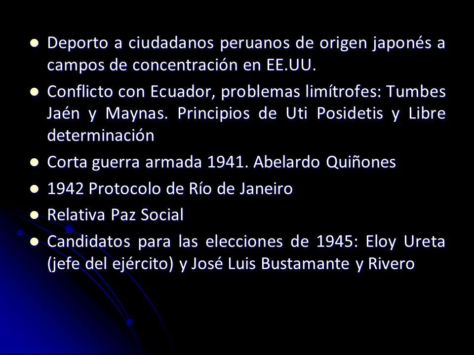Manuel Prado y Ugarteche 1939 Apoyado por el presidente Benavides Apoyado por el presidente Benavides Otro candidato: José Quesada (UR), APRA aún no p
