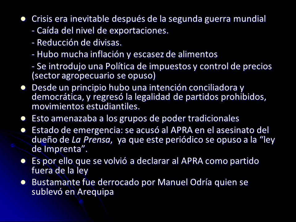 Bustamante y Rivero APRA fue registrado como Partido del Pueblo, y respaldó a Bustamante y Rivero ya que seguía vetado por el Ejército para presentar