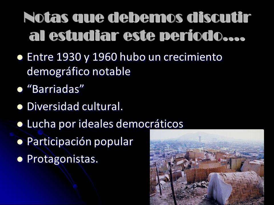 Antes de empezar, algunas notas de nombres importantes. José Luis Bustamante (1894 - 1989): José Luis Bustamante (1894 - 1989): Político Arequipeño. E