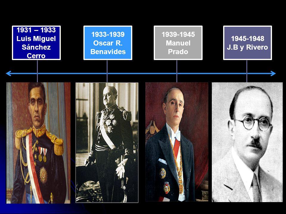1931 – 1933 Luis Miguel Sánchez Cerro 1931 – 1933 Luis Miguel Sánchez Cerro 1933-1939 Oscar R.