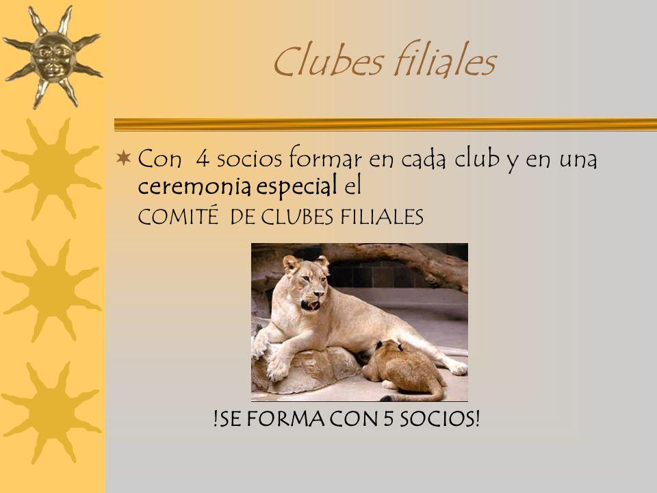 Clubes filiales Con 4 socios formar en cada club y en una ceremonia especial el COMITÉ DE CLUBES FILIALES !SE FORMA CON 5 SOCIOS!