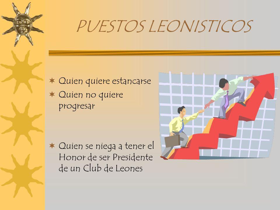 PUESTOS LEONISTICOS Quien quiere estancarse Quien no quiere progresar Quien se niega a tener el Honor de ser Presidente de un Club de Leones