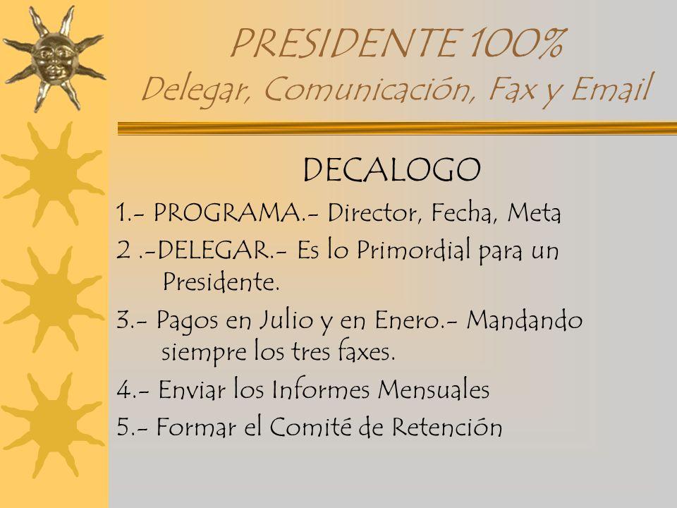 PRESIDENTE 100% Delegar, Comunicación, Fax y Email DECALOGO 1.- PROGRAMA.- Director, Fecha, Meta 2.-DELEGAR.- Es lo Primordial para un Presidente. 3.-