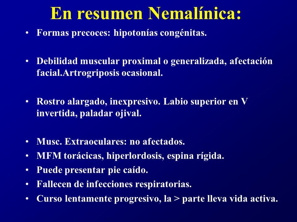En resumen Nemalínica: Formas precoces: hipotonías congénitas. Debilidad muscular proximal o generalizada, afectación facial.Artrogriposis ocasional.
