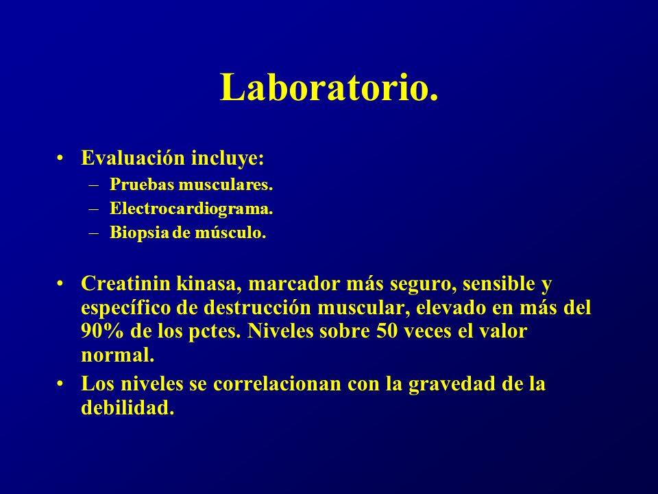 Aldolasa.Mioglobina. Lactato deshidrogenasa. Elevados, pero Aspartato aminotransferasa.