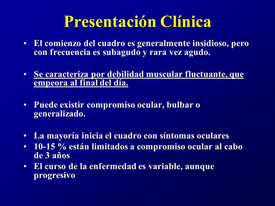 Presentación Clínica El cuadro ocular puede presentarse con ptosis y/o diplopia.