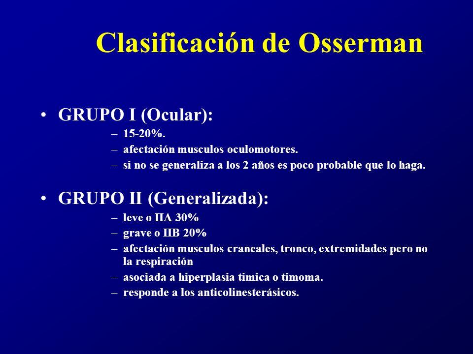 Clasificación de Osserman GRUPO III (Aguda Fulminante): –11% –debilidad general aguda o subaguda y en menos de 6 meses afectación de la musculatura bulbar o respiratoria.