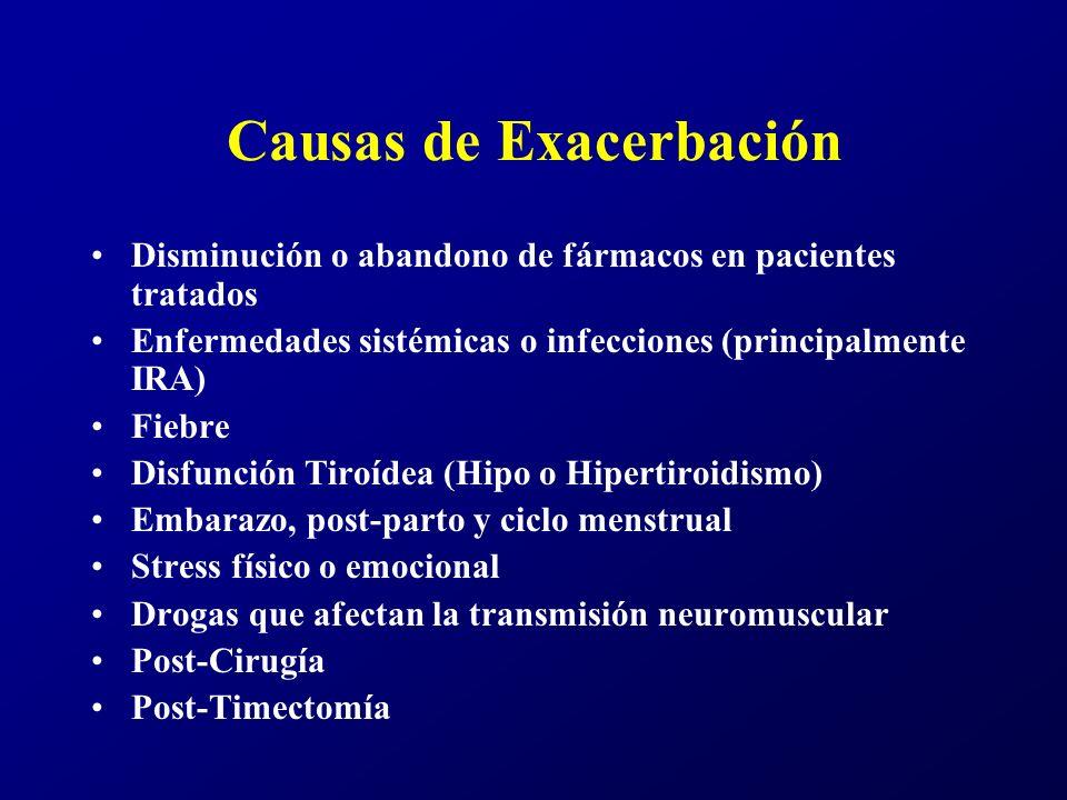 Enfermedades Asociadas Enfermedades del Timo, hiperplasia o timoma Otras enfermedades autoimmunes: tiroiditis, Enf.