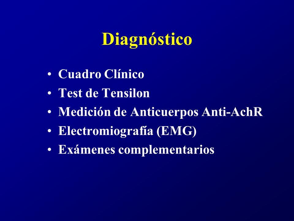 Diagnóstico Cuadro Clínico Test de Tensilon Medición de Anticuerpos Anti-AchR Electromiografía (EMG) Exámenes complementarios