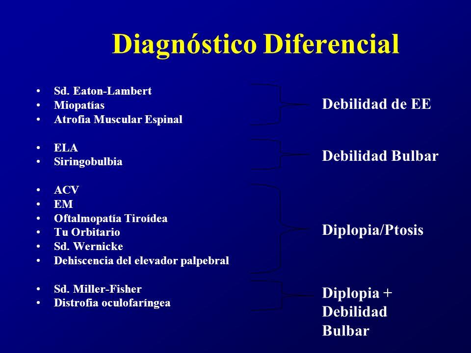 Diagnóstico Diferencial Sd. Eaton-Lambert Miopatías Atrofia Muscular Espinal ELA Siringobulbia ACV EM Oftalmopatía Tiroídea Tu Orbitario Sd. Wernicke