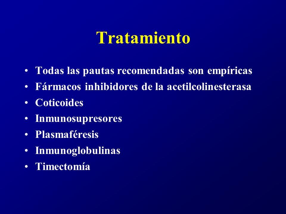Tratamiento Todas las pautas recomendadas son empíricas Fármacos inhibidores de la acetilcolinesterasa Coticoides Inmunosupresores Plasmaféresis Inmun