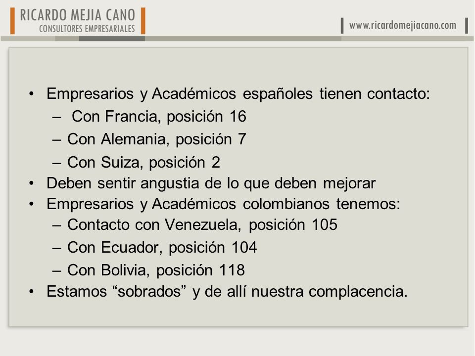 Empresarios y Académicos españoles tienen contacto: – Con Francia, posición 16 –Con Alemania, posición 7 –Con Suiza, posición 2 Deben sentir angustia de lo que deben mejorar Empresarios y Académicos colombianos tenemos: –Contacto con Venezuela, posición 105 –Con Ecuador, posición 104 –Con Bolivia, posición 118 Estamos sobrados y de allí nuestra complacencia.