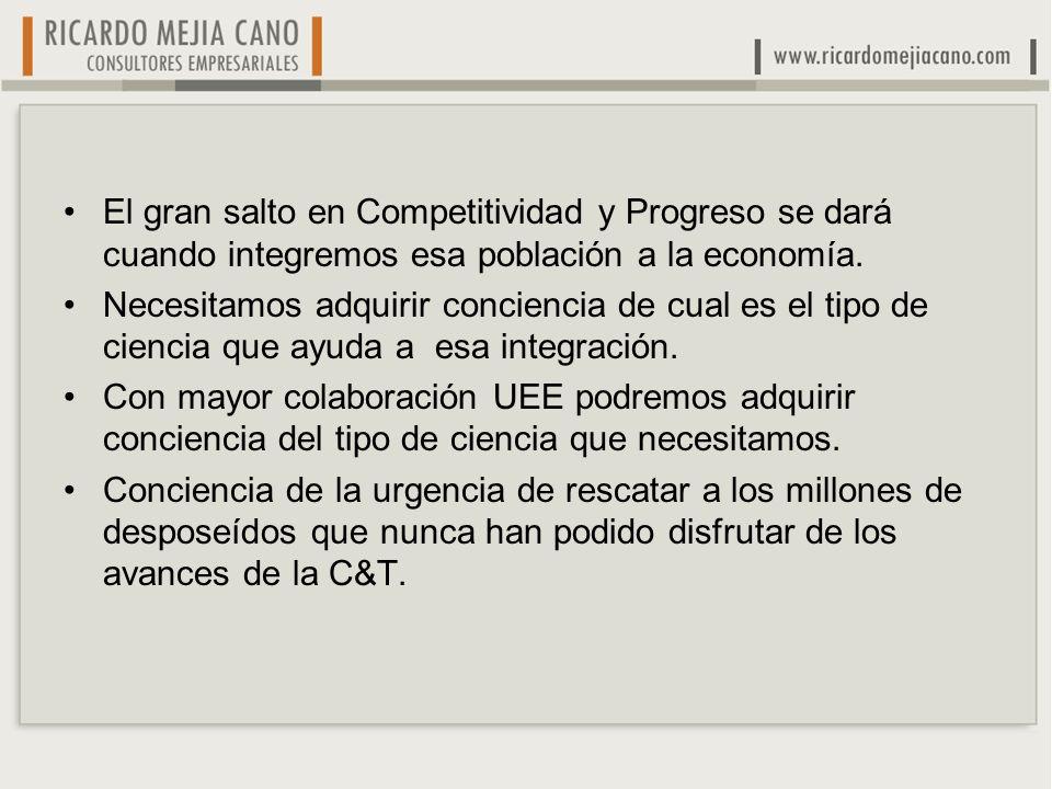 El gran salto en Competitividad y Progreso se dará cuando integremos esa población a la economía.