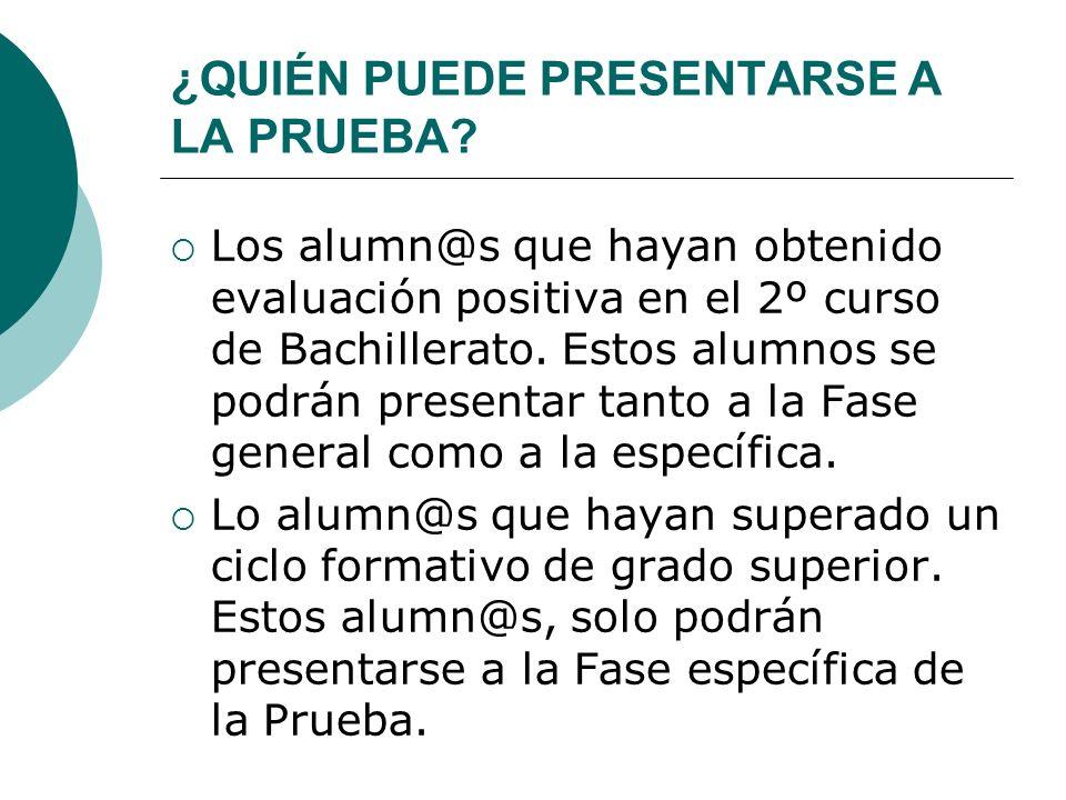 ESTRUCTURA DE LA PRUEBA La prueba se estructura en dos Fases: Fase General: Esta fase será obligatoria para todos los alumn@s de Bachillerato.
