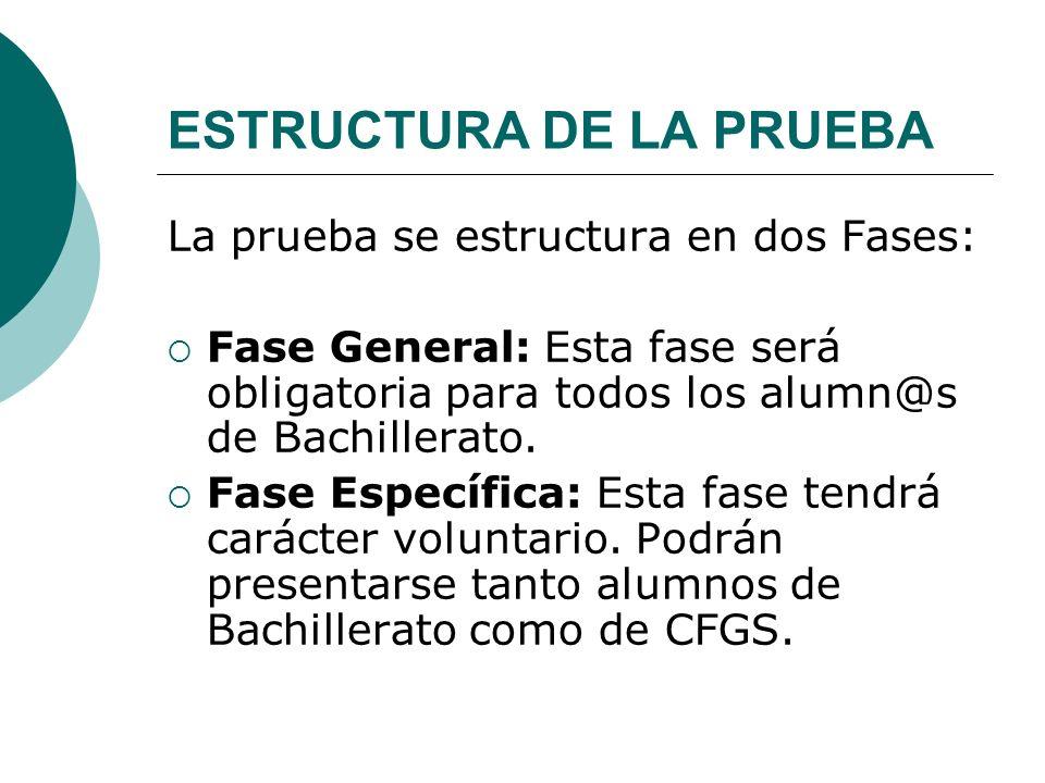 ESTRUCTURA DE LA PRUEBA La prueba se estructura en dos Fases: Fase General: Esta fase será obligatoria para todos los alumn@s de Bachillerato. Fase Es