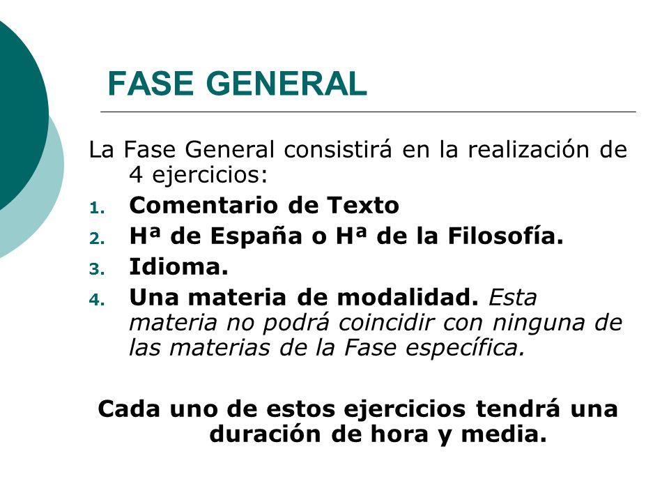 FASE GENERAL La Fase General consistirá en la realización de 4 ejercicios: 1. Comentario de Texto 2. Hª de España o Hª de la Filosofía. 3. Idioma. 4.