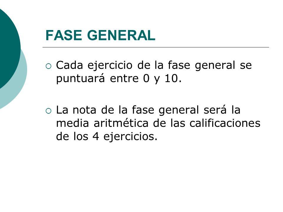 FASE GENERAL Cada ejercicio de la fase general se puntuará entre 0 y 10. La nota de la fase general será la media aritmética de las calificaciones de