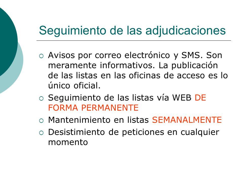 Seguimiento de las adjudicaciones Avisos por correo electrónico y SMS. Son meramente informativos. La publicación de las listas en las oficinas de acc