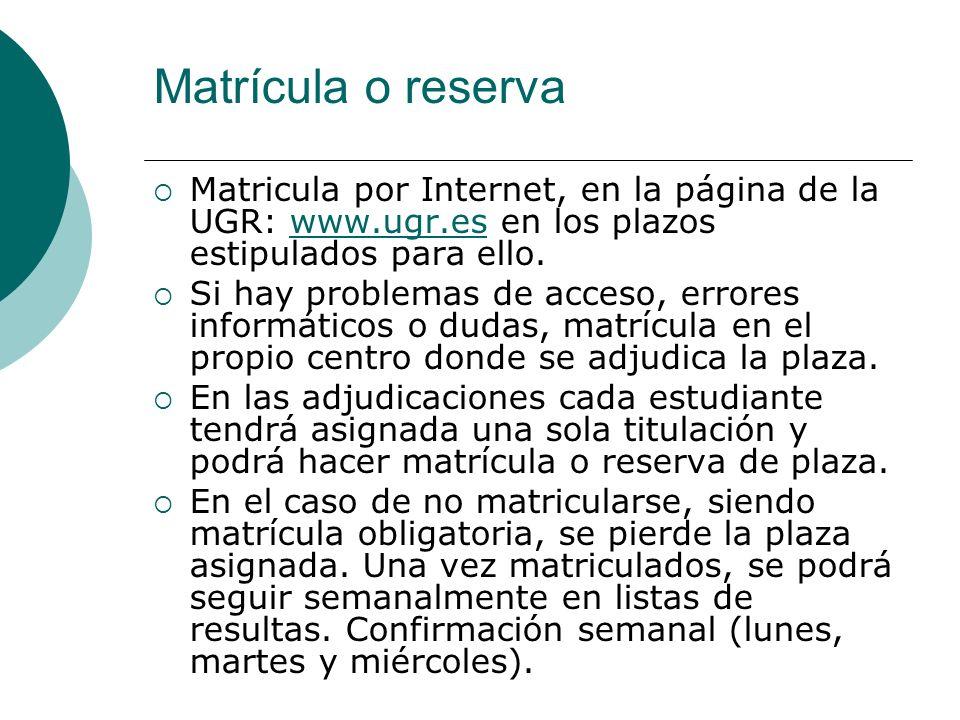 Matrícula o reserva Matricula por Internet, en la página de la UGR: www.ugr.es en los plazos estipulados para ello.www.ugr.es Si hay problemas de acce