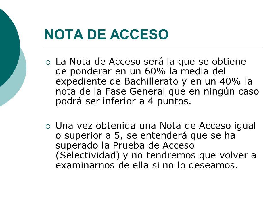 NOTA DE ACCESO La Nota de Acceso será la que se obtiene de ponderar en un 60% la media del expediente de Bachillerato y en un 40% la nota de la Fase G