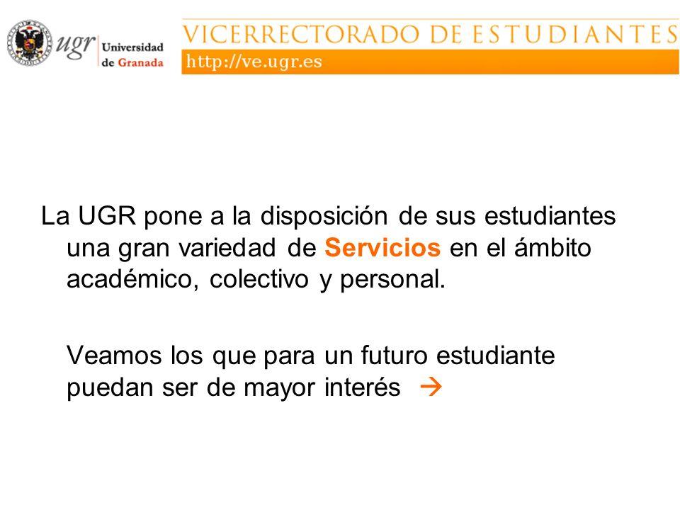La UGR pone a la disposición de sus estudiantes una gran variedad de Servicios en el ámbito académico, colectivo y personal. Veamos los que para un fu